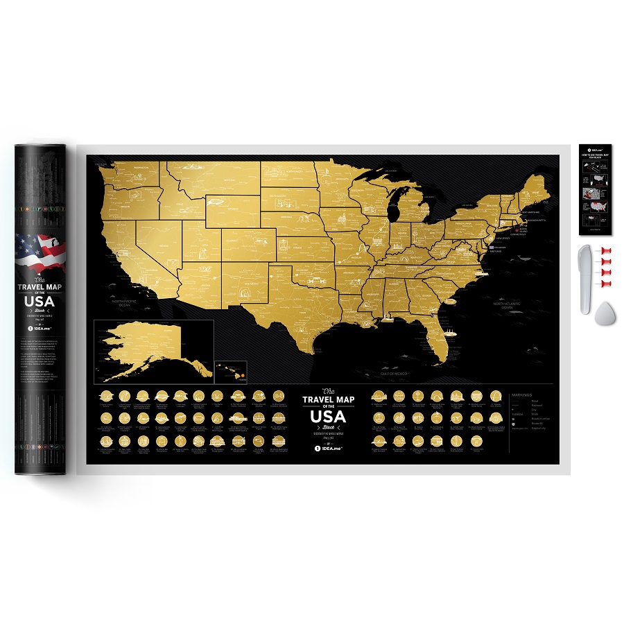 Карта travel map usa black 1DEA.me